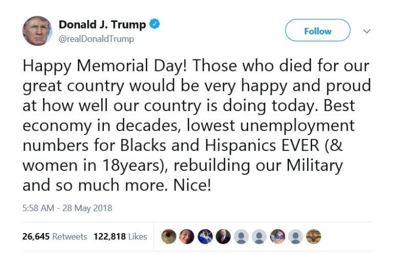 DONALD TRUMP MEMORIAL DAY 280518
