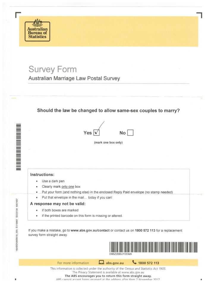 GAY MARRIAGE SURVEY 12 SEP 2017 AUSTRALIA FED GOVT