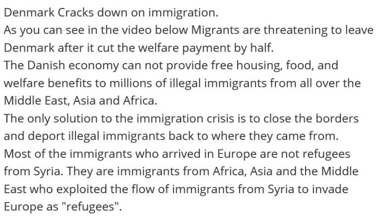 DENMARK WELFARE REFUGE CUTS OCT 2019