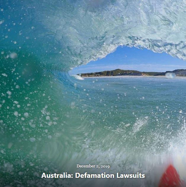 BLOG AUSTRALIA DEFAMATION LAWSUITS DEC 2 2019