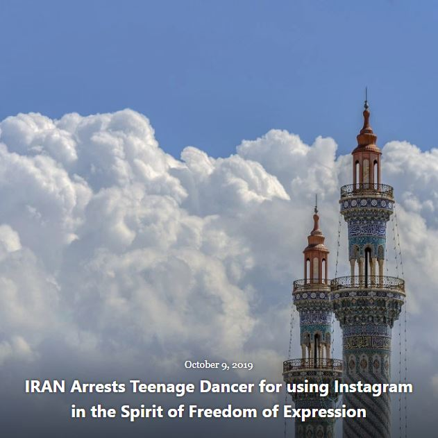 BLOG IRAN ARRESTS TEENAGE DANCER OCT 9 2019