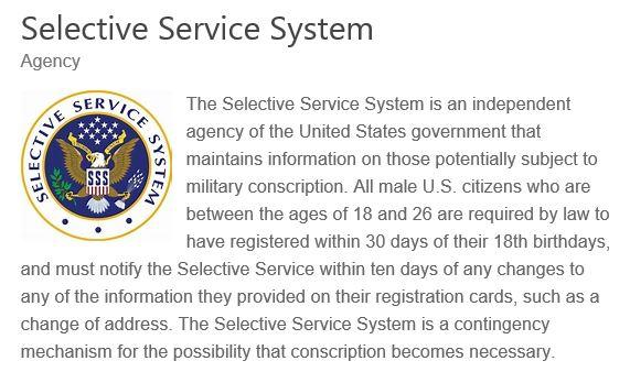 SELECTIVE SERVICE SYSTEM USA 2020 001
