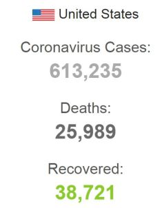 CORONA VIRUS DEATHS IN USA WORLDOMETER 150420 001