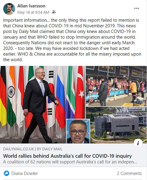 FB CHINA WORLD CALL FOR COVID-19 INQUIRY 180520 001