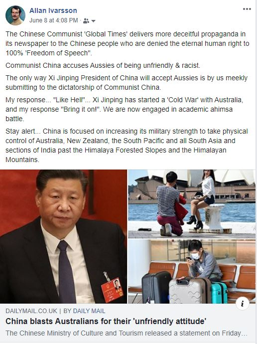 COMMUNIST CHINA BLASTS AUSTRALIANS FOR BEING UNFRIENDLY JUNE 2020 001