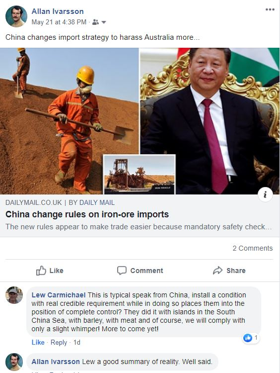 FB CHINA THREATENS AUSTRALIAN EXPORT TRADE 210520 002